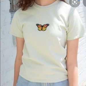 NWOT Brandy Melville green T-shirt with butterfly